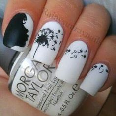 Black and white dandelion nails