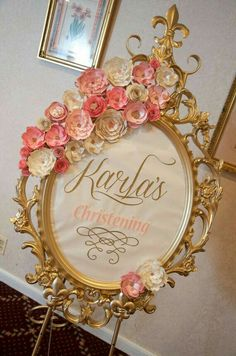 Welcome sign at a vintage romantic baptism party! See more party planning ideas… Fiesta Shower, Shower Party, Bridal Shower, Christening Frames, Pink Und Gold, Blush Pink, Girl Birthday, Birthday Parties, Birthday Signs