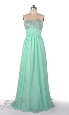Long Strapless Sequined Bridesmaid Dress Mint DVW0117