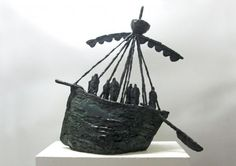 Foundry cast bronze Boats Ships Canoes Dinghies Sculptures Yachts Statues #sculpture by #sculptor Hans Blank titled: 'Medieval Boat' #art
