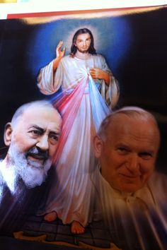 The Divine Mercy with Saint Pio and Beatified Pope John Paul II