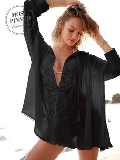 Breezy & boho-chic. | Victoria's Secret Embroidered Tunic