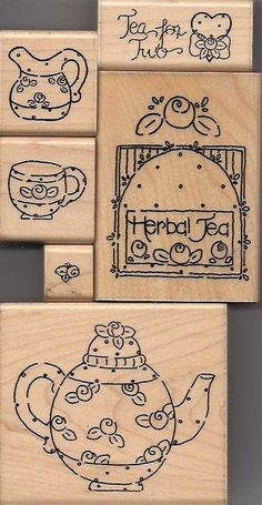 Faux Mary Engelbreit stamps. JRL Design, #6010 Tea for Two Set. The tiny stamp has the brand D.O.T.S. #A 180 on it. * *
