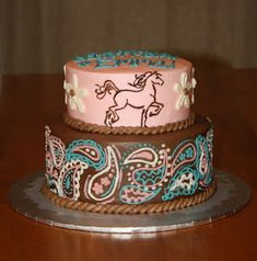 Party Cakes: 2-Tier Western Horse Cake