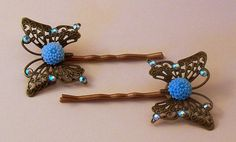 Butterfly Bobby Pins with Swarovski Crystals 1 by DesignsByDeb18, $8.00