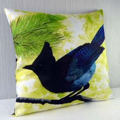 Cushion cover bird - Steller's Jay 16x16 inch 40x40cm for throw pillow or accent pillow. 40,00, via Etsy.