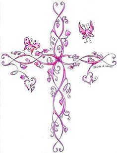 Girly cross tattoo, pink with butterflies. Girly cross tattoo, pink with butterflies. Small Cross Tattoos On Finger Feminine Cross Tattoo, Pretty Cross Tattoo, Cross Tattoo On Wrist, Celtic Cross Tattoos, Cross Tattoos For Women, Back Tattoo, Girly Tattoos, Pretty Tattoos, Body Art Tattoos