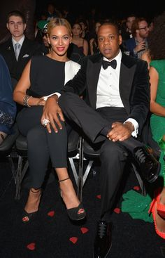 There aren't any single ladies to be found here. Jay Z keeps an eye on his throne and his sweetheart Beyoncé at the 55th GRAMMY Awards in 2013
