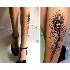 stockings w/ peacock feather 'tattoo'