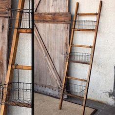 Ladder Rack   Wire Display Baskets   Ladder Display Antique Farmhouse