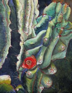 Original acrylic painting RED CACTUS FRUIT by KrugsStudio on Etsy, $399.99