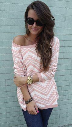 cozy aztec sweater in peach