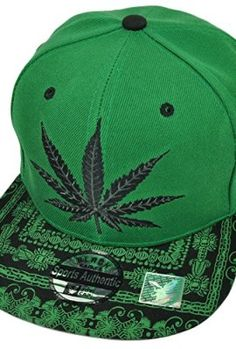 3494f1fe449 Weed-Marijuana-Snapback-High-Smoke-Cannabis-Ganja-Flat-Bill-Hat -Cap-Kush-Green-0-1
