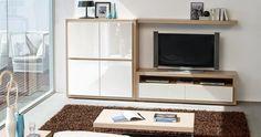 Composición para salón MISTRAL de Expormim: Mueble TV con cajones, módulo de 4 puertas y estante de pared. De madera de roble, acabados tinte y sólido (blanco laca). Frentes, opcionalmente, lacados o porcelánicos.