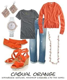 Casual Orange with Movement Earrings, Tic Toc Watch and necklace all by Premier Designs