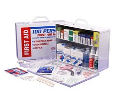 2 SHELF FIRST AID CABINET This 2 Shelf First Aid Cabinet was designed by leaders in the Emergency Preparedness Industry. This kit contains 656 pieces that are packaged neatly into a white steel case that can be mounted on a wall for easy access.