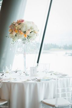 Pop of Peach ~ WedLuxe Magazine Tall Wedding Centerpieces, Destination Wedding Inspiration, Tablescapes, Minimalism, Peach, Bring It On, Table Decorations, Pop, Modern