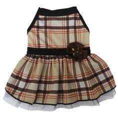Brown and Tan Plaid Dress