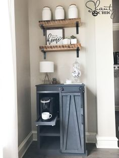 Great solution for limited space! Build this DIY Barn Door Coffee Cabinet to house your coffee maker. Free plans and how-to video at www.shanty-2-chic.com