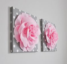 The perfect wall accent youve been looking for is right here! These stunning roses are the perfect accessory for your daughters walls! Choose your own flower color and polka dot color upon checkout. Or contact us today for your very own customization! These pieces are sure to please for years to come!  Baby, Toddler, girl, teen bedroom wall hanging, flower wall art set of two. Create your own art by selecting the flower colors and the polka dot background with the drop down selections upon…