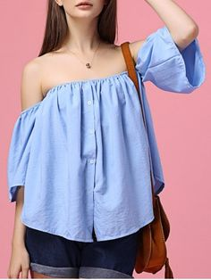SHARE & Get it FREE | Sweet Off The Shoulder Flare Sleeves Blue Shirt For WomenFor Fashion Lovers only:80,000+ Items • New Arrivals Daily • FREE SHIPPING Affordable Casual to Chic for Every Occasion Join RoseGal: Get YOUR $50 NOW!