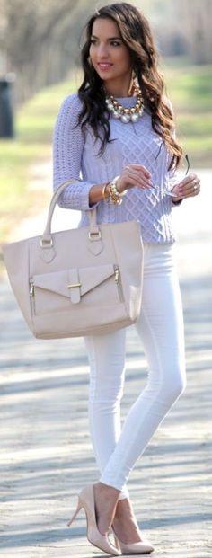 Lavendar sweater white skinny jeans #sweater #jeans #bags #heels