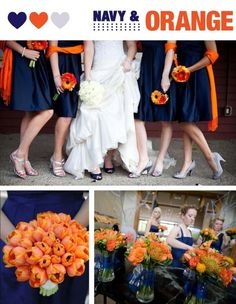 Navy and Orange Wedding... maybe with yellow instead of orange.