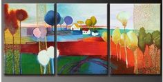 THREE HOUSES ON A COLOR LANDSCAPE