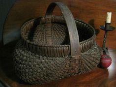 Antique 1800s N.E. Huge  Woven Splint EGG Gathering BASKET Carved Handle   AAFA Sold North Bayshore Antiques