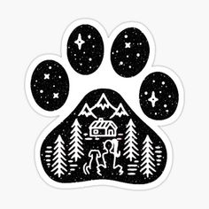 'Camping hiking climbing outdoors dog paw ' Sticker by kimoufaster Puppy Gifts, Bull Terrier, Boston Terrier, Laptop Stickers, Laptop Decal, Dog Paws, Funny Design, Sticker Design, Dog Mom