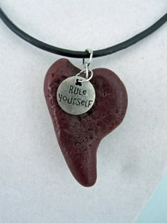 Red Lava Stone Heart Pendant by playsculptlive, $35.00