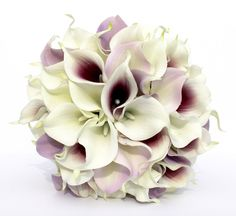 WEDDING BOUQUET Purple Calla Lily Wedding Bouquet, Real To Touch Lavender and Darl Puple Bouquet