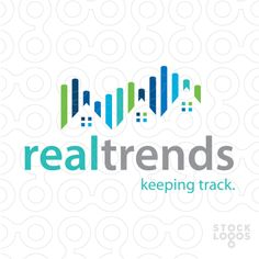 LOGO SOLD colourful flowing line that represent a flow chart or bar chart. Simple home shapes are created within the white space. the roofs of the home also create a line chart design with in the lines.