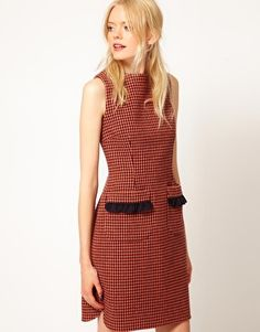 Enlarge Boutique by Jaeger Edith Dress in Dogstooth Dress Skirt, Peplum Dress, Houndstooth, Fashion Women, Asos, Cute Outfits, Dresses For Work, Boutique, My Style