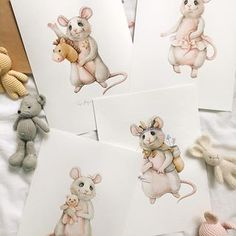 Все в сборе) такая вот серия для оформления детской получилось ☺️ . Знаю, не все разделяют любовь к мышатам , но как по мне они очень мило смотрятся на бумаге ❤️ #tanya_bonya Love Illustration, Watercolor Illustration, Love Doodles, Watercolor Journal, Foto Art, Animal Sketches, Baby Art, Hamsters, Drawing For Kids