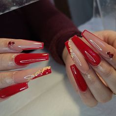Long Red Nails, Red And Gold Nails, Red Gel Nails, Acrylic Nails Coffin Pink, Long Square Acrylic Nails, Glow Nails, Summer Acrylic Nails, Cute Red Nails, Red Ombre Nails