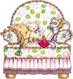 Pink chair with stuffed animals. Mary Engelbreit