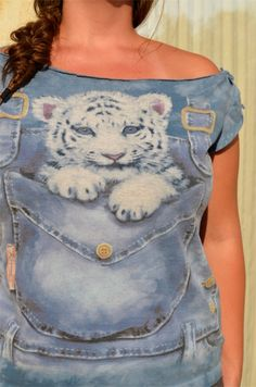 Yes!!  Awesome 90s Off-the-Shoulder Ironic T-shirt, Faux Acid Wash Denim with Baby Snow Tiger - M/L. $15.00, via Etsy.