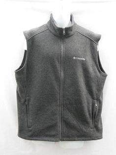 Columbia Men's Front  Zip Fleece Vest Two Pockets XL Gray #Columbia #Vest