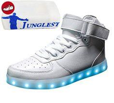 [Present:kleines Handtuch]Weiß EU 44, Herren Turnschuhe Schuhe Farbe Damen USB Sportschuhe LED Sport High-Top Unisex-Erwachsene weise Aufladen für