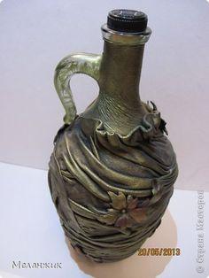Бутылочк-кувшин Автор: Меланжик | Декор и декупаж стеклянных сосудов,бутылок. | Постила