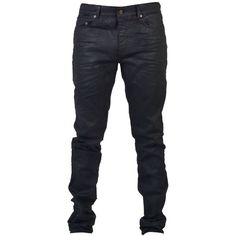 Saint Laurent Jeans (€320) ❤ liked on Polyvore featuring men's fashion, men's clothing, men's jeans, black, mens waxed skinny jeans and mens waxed jeans
