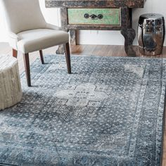 Bungalow Rose Culemborg Vintage Blue Area Rug Rug Size: x Silver Grey Rug, Slipper Chairs, Boho Living Room, Grey Rugs, Room Rugs, First Home, Throw Rugs, Home Decor Bedroom, Blue Area Rugs