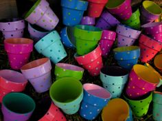 Painted Polka Dot Flower Pots