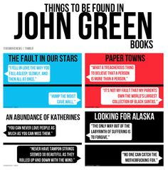 Things to be found in John Green books <3