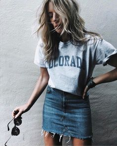 $15 Grey Oversized Womens Colorado Blue Logo T-Shirt High Waisted Dark Blue Frayed Denim Mini Skirt Simple Minimalist Blogger Summer Spring Casual Cool Street Style Tumblr