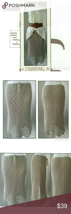 J.jill GORGEOUS  HAND CROCHET MIDI  SKIRT IN MINT CONDITION & SO PRETTY,  THIS SKIRT SCREAMS ELEGANCE.  HIDDEN RIBBON THAT MAKES IT ADJUSTABLE. TRIMMED W A GORGEOUS SCALLOPED EDGED HEM. THIS IS HAND CROCHET  (PIC #4) BETTER PIC OF THE SKIRT. & MATERIAL CONTENT & HAND WASH INSTRUCTIONS,  PLEASE ASK ANY ADDITIONAL QUESTIONS PRIOR TO PURCHASE J. Jill Skirts Midi