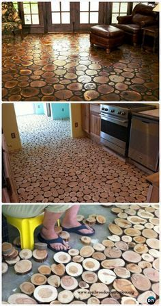 DIY Wood Log Flooring Instructions - DIY Flooring Ideas Low Cost