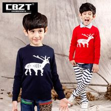 Fashion brand 3-10 age winter autumn children clothing,deer pattern boys christmas sweaters,cotton full sleeve baby boy sweater(China (Mainland))