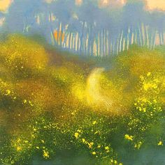 On the Trail at Dawn IV by John O'Grady - www.johnogradypaintings.com - an atmospheric Irish landscape one cool morning when gorse bushes catch the first sun rays #art #irishart